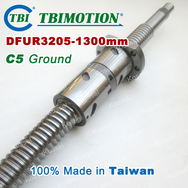 TBI 3205 Right Rotation 1300mm Customized Grinding Ballscrew DFU3205 ball screw with one Double ball nut  diy CNC machine винт tbi sfkr 0802t3d