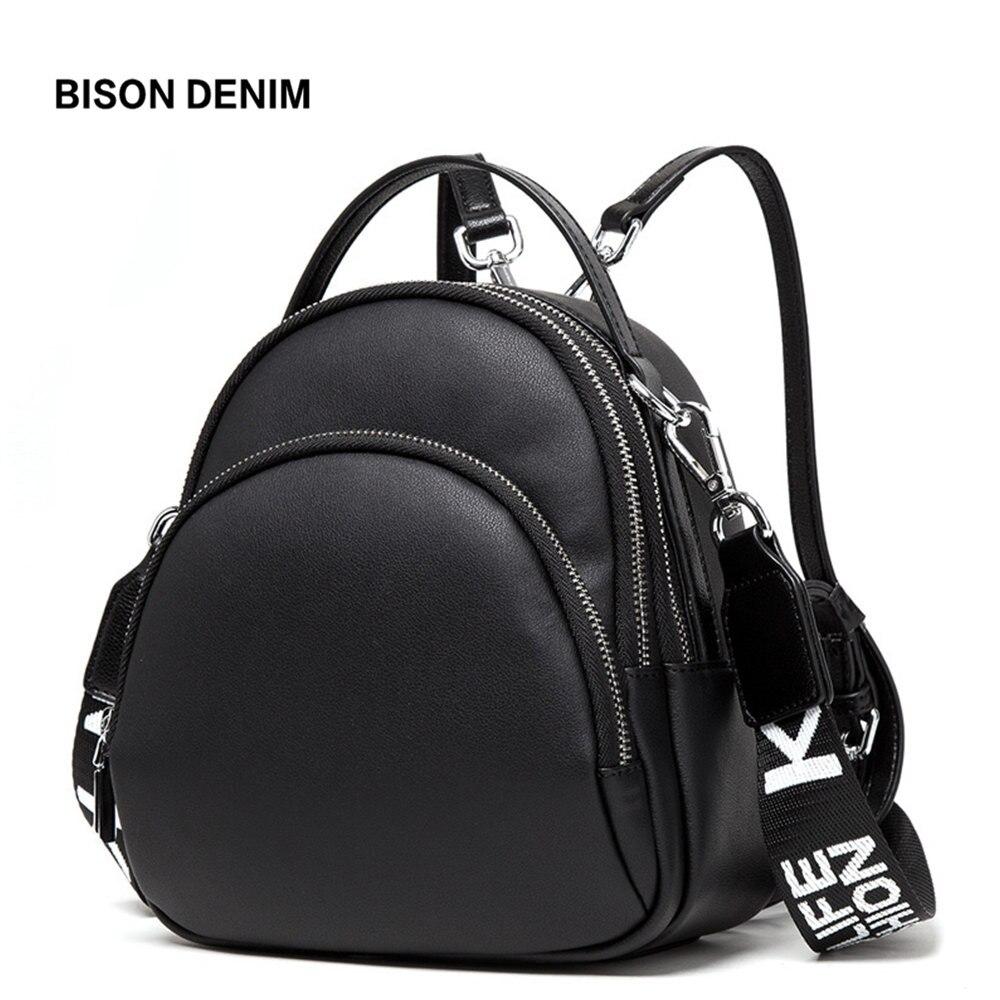 BISON DENIM Multifunction Backpack Female Genuine Leather Ladies Shoulder Bags Brand Small Women Backpack Mochila Feminina N1553