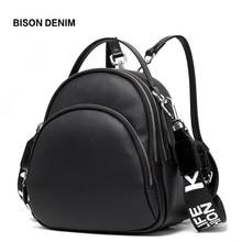 BISON DENIM Multifunction Backpack Female Genuine Leather Ladies Shoulder Bags Brand Small Women Backpack mochila feminina N1553 bison denim один размер