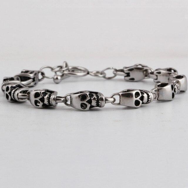 Stainless Steel Skull Bracelet For Men Fashion Mens Biker Jewelry