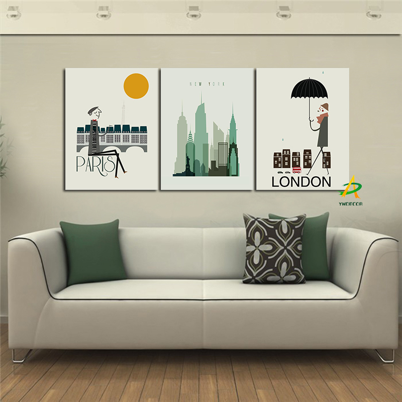 YWDECOR 3 Panel Modern Building Style Canvas Painting New York Skyscraper London Rainy day Paris Dusk Home Living Room Decor