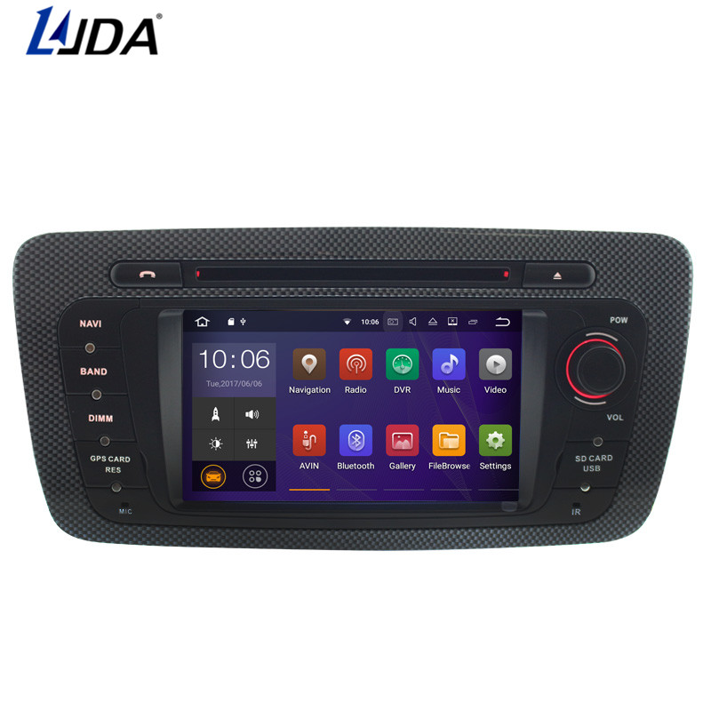 LJDA 2 Din Android 7.1 Car DVD Player For Seat Ibiza 2009-2013 Bluetooth WIFI GPS Navigation Radio Multimedia Canbus SWC AUX USB