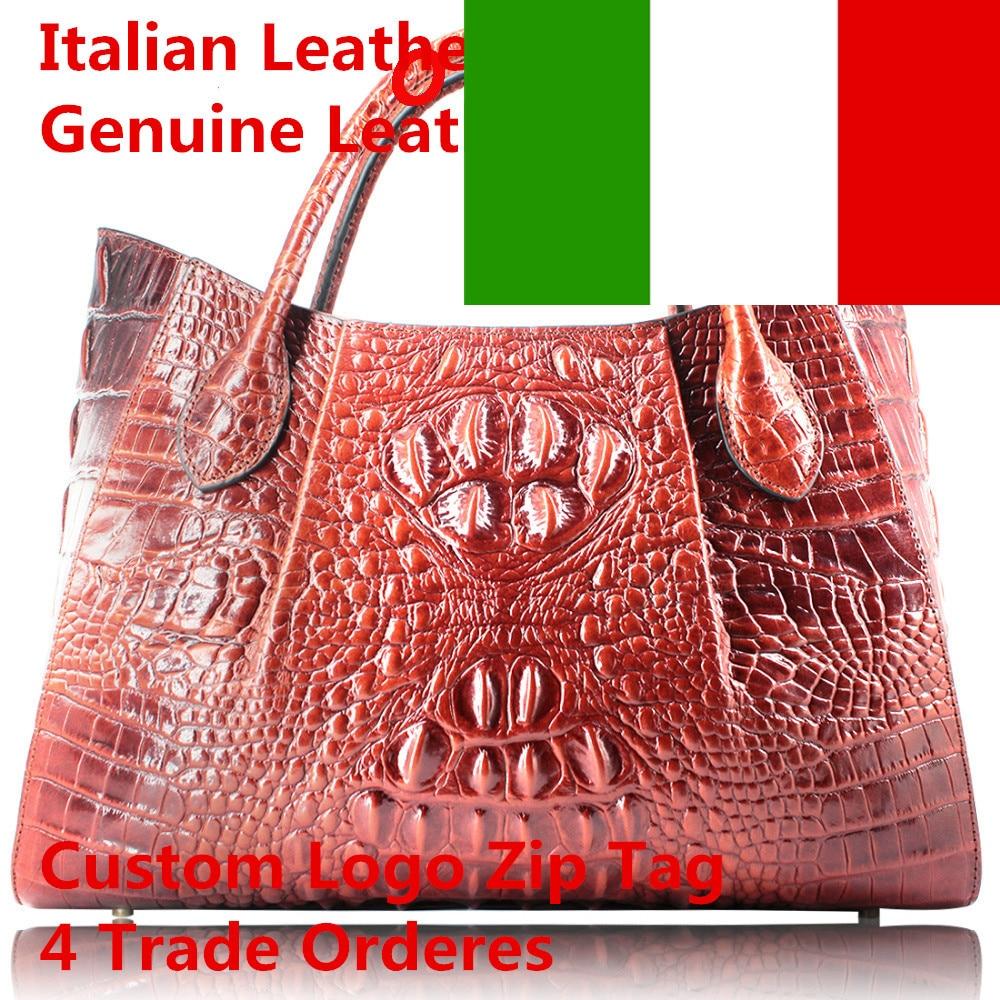 Genuine Italian leather women famous bags Embossed Crocodile Handbags Ladies Designer Purses tote Handbags wholesale