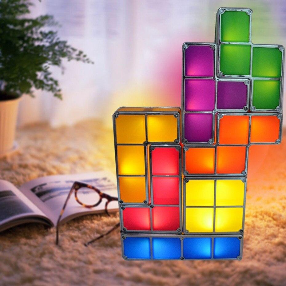 Diy tetris quebra cabeça luz empilhável led