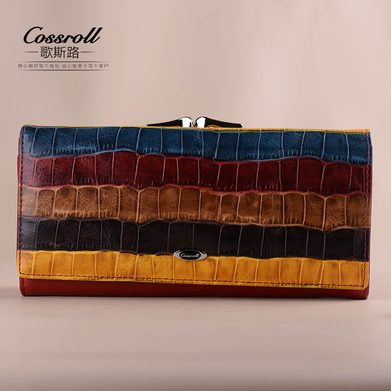 Genuine Leather Wallets Purses New Fashion Colorful Striped Female Long Clutch Hand Bag Wallet for Women