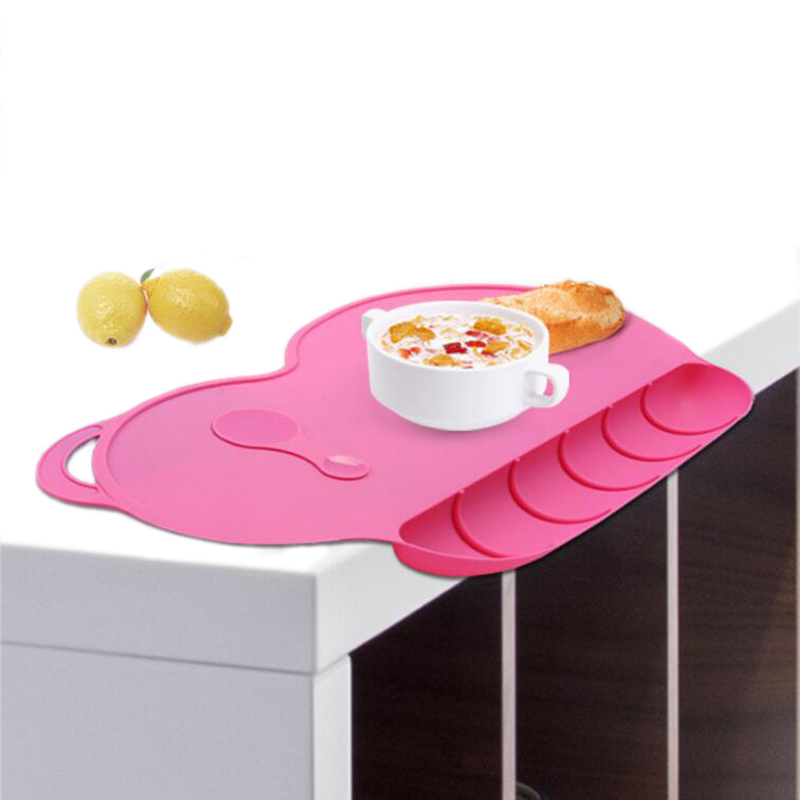 Baby Silicon Plate Sucker Slip-resistent Baby Silicone Placemat Vandtæt Snack Mat Food Pocket Kid Dinner Plate Bordservice Sæt