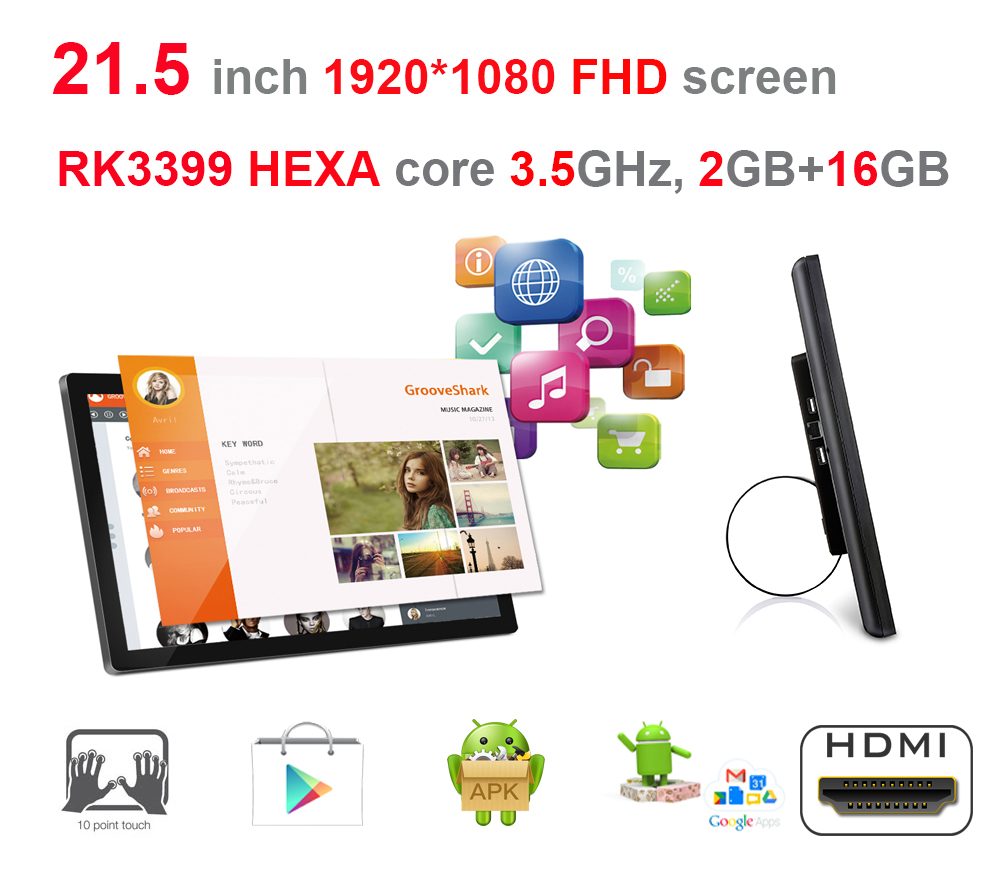 HEXA core 21.5 pollice Android smart chiosco, digital signage display all in one pc (RK3399 3.5 ghz, 2 gb + 16 gb, 2.4g/5g wifi, 100 m/1000 m)