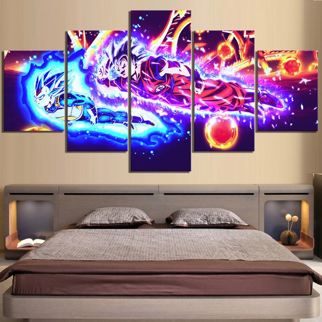 Wall Art Canvas Paintings Modern 5 Pieces Dragon Ball Animation Pictures Prints Home Decoration Poster For Living Room Modular
