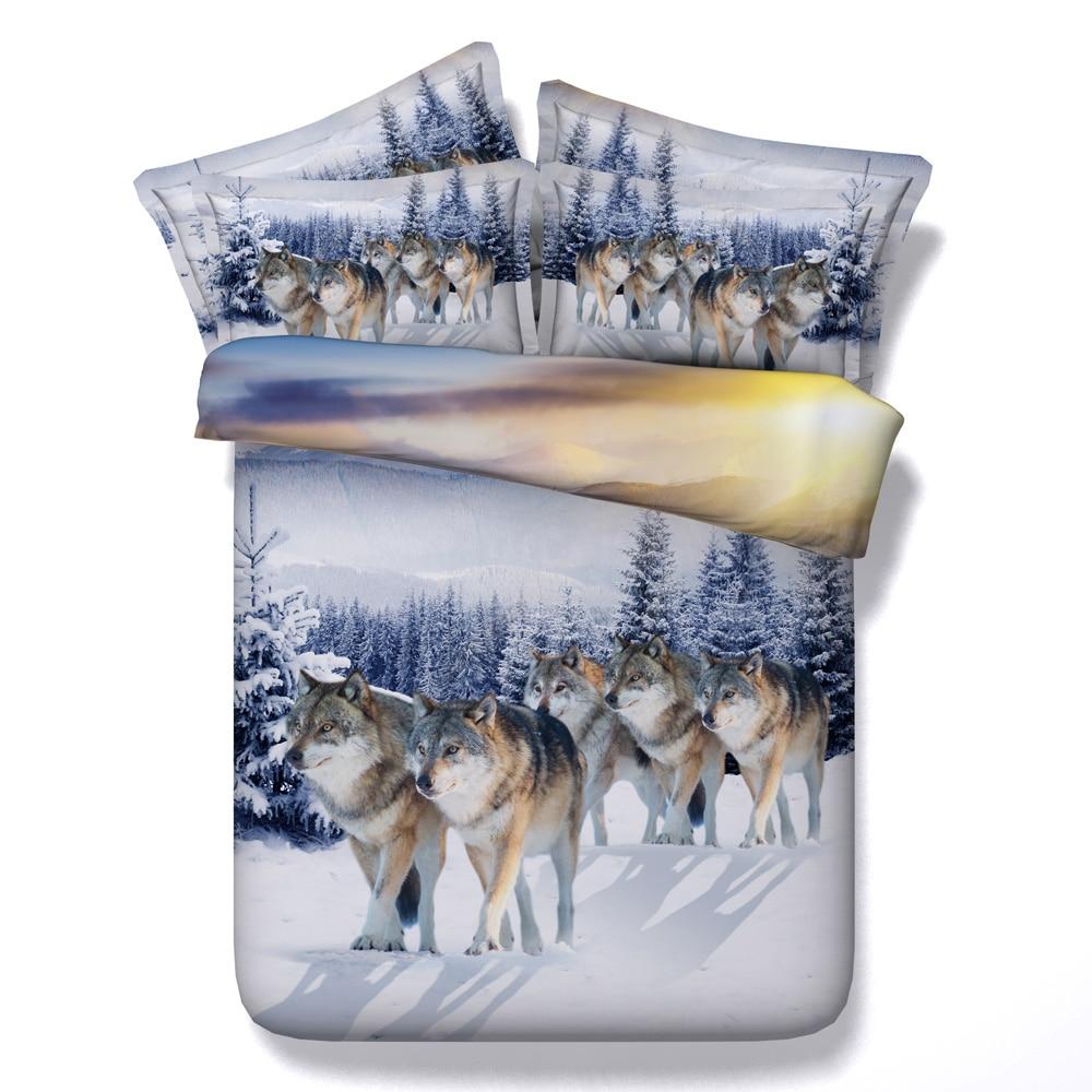 Снег Волки Животных 3D Печатных Постельного белья Твин Полный Queen король Супер Cal King Size Покрывало Утешитель Пододеяльники Взрослых кровать п