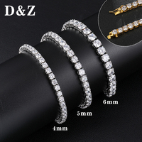 D&Z Hiphop 1 Row Iced Out Bling Rhinestone Tennis Bracelet For Men Gold Silver Color Stainless Steel Jewelry