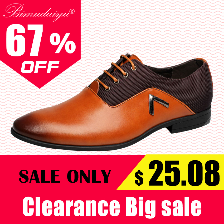 BIMUDUIYU Plus Storlek 6.5-12 Formell Läder Mäns Klädskor Elegant Design Kvalitet Märke Mens Business Basic Casual Oxfords Skor