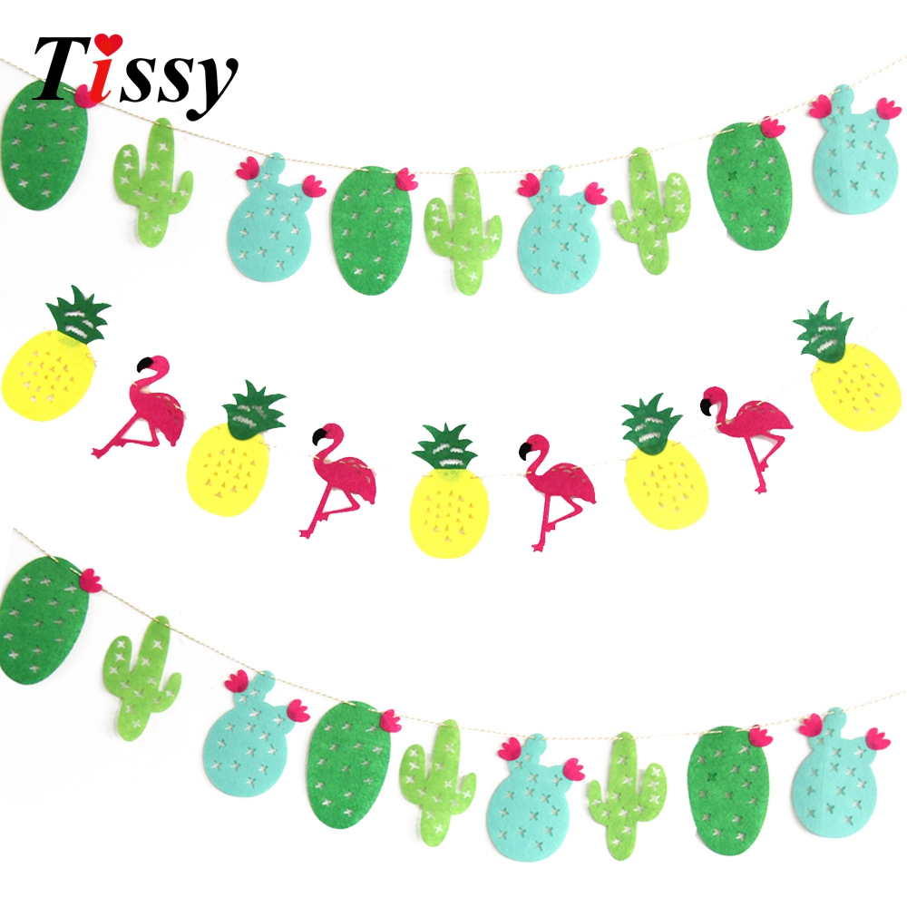 1set Non Woven Fabrics Flamingo Cactus Garland Floral Bunting Banners Party Favors Home Decor