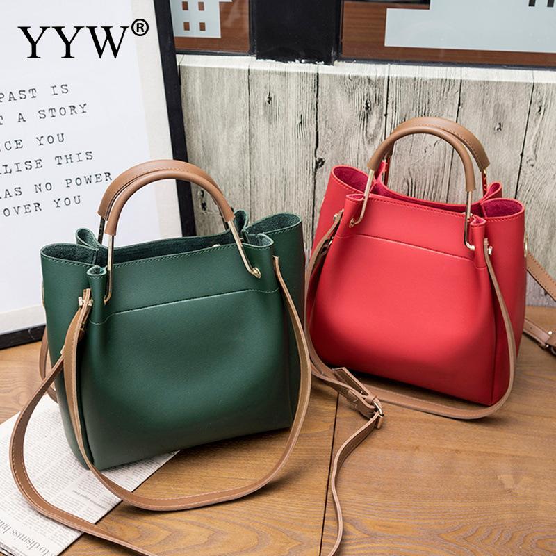 Solid Soft PU Leather Female Shoulder Bag Women'S Bucket Handbags Light Grey Tote Bags For Women 2018 Designer Top-handle Bag 2