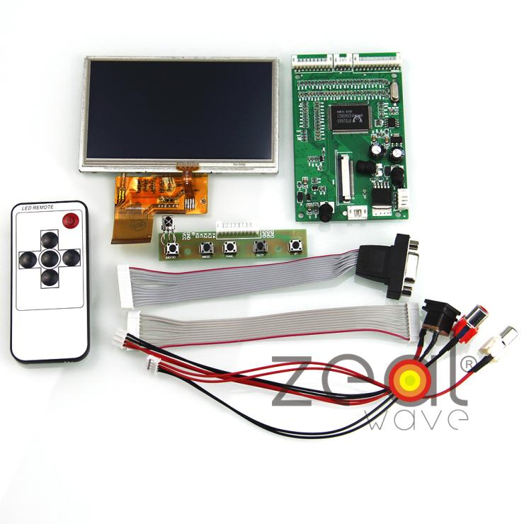 4.3TFT LCD Display 480*272+VGA/2AV/Reversing Driver Controller Board Card+Touch Screen Panel Remote Control RaspberryPi vga 2av audio reversing lcd driver board 10 1inch n101bge 1366 768 lcd panel