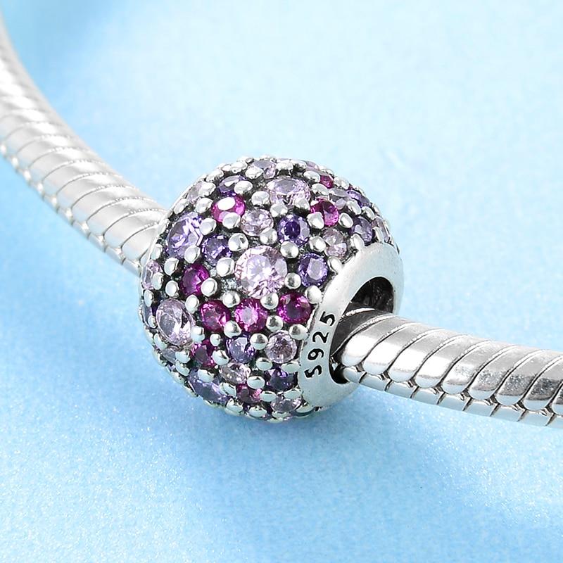 HTB1TuYkOhTpK1RjSZFMq6zG VXaB 925 sterling silver Delicate purple pink zircon round DIY accessories beads Fit Original Pandora Charm Bracelet Jewelry making
