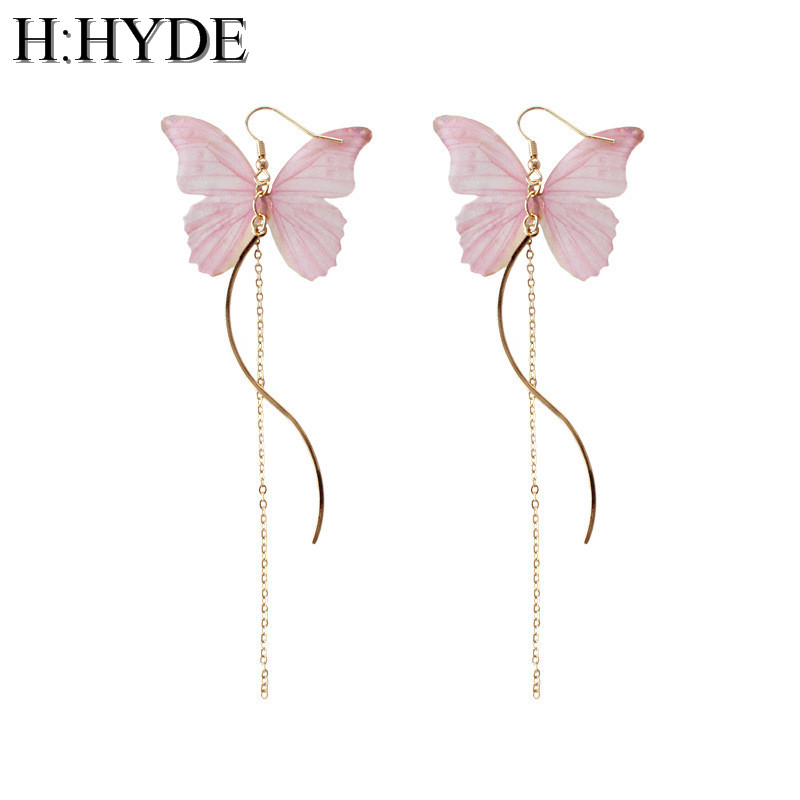 H:HYDE Handmade Ethereal Butterfly Drop Earrings Pink Blue Purple AB Color Fashion Imitation Glass Long Earrings For Women ...