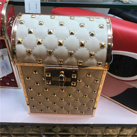 2018 Real Limited Designer Female Retro Clutch Vertical Square Hardware Box Package Chain Diagonal Shoulder Bag Women Evening