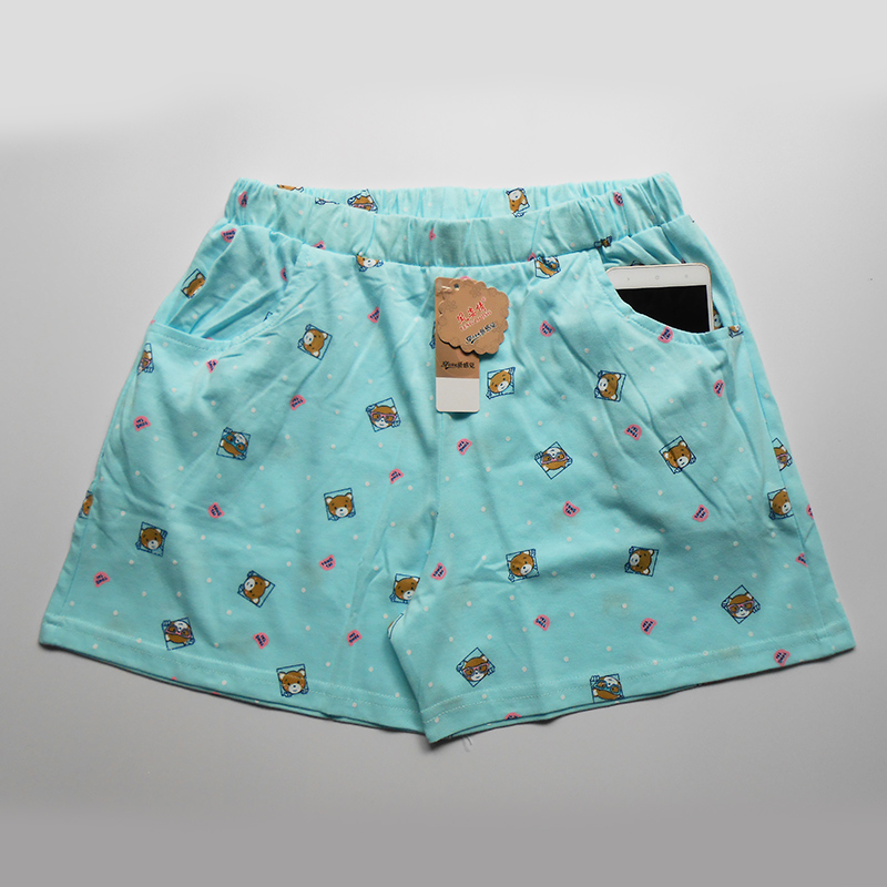 Female short pajama pants thin plus size summer cotton animal print with pockets home shorts 1