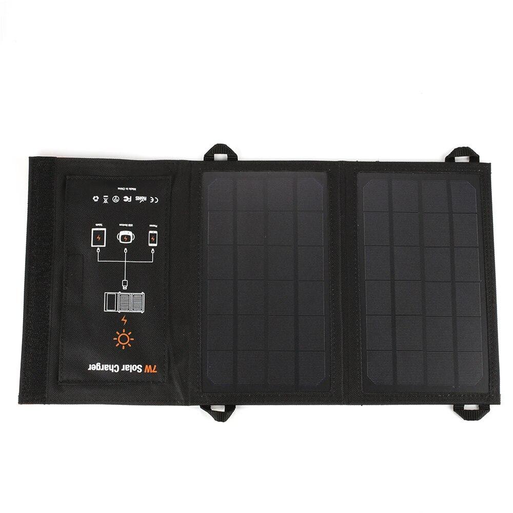 amzdeal Durable Solar Generator Travel Folding Solar Panel Portable Emergency Power Supply USB Port 5V 7W Polysilicon Outdoor
