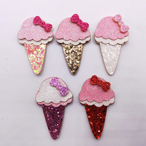 50pcs/lot 3x5cm Glitter Fabric Appliques Cartoon Ice Cream Nonwoven Padded Patches for Wall Clothes Stickers DIY Hair Clips