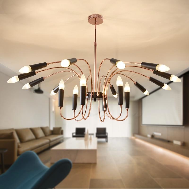 Kreativní jednoduché nordické led lustr osvětlení zlaté chromové LED lampy Obývací pokoj příslušenství Přívěsek Lustres Domácí dekorace