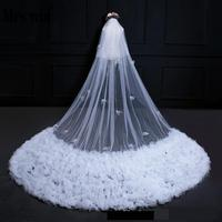 Luxury Cloudy Cathedral Veil Marriage 3.5m Long With Face Veil Plain Comb Bridal Veils Cathedral For Wedding C