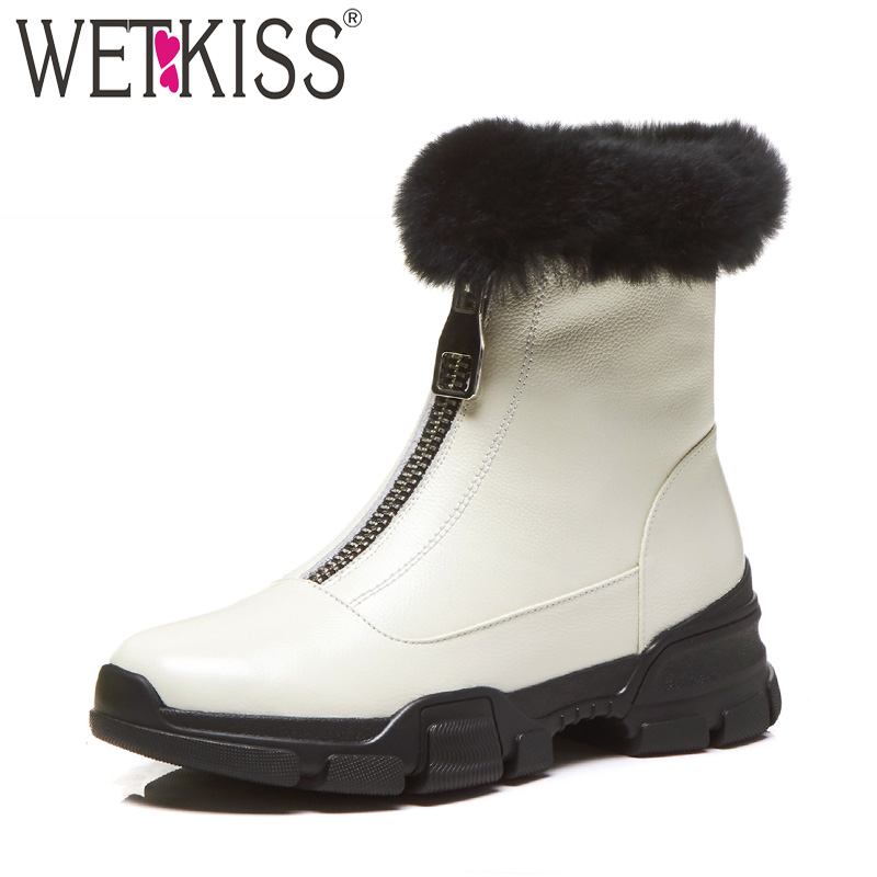 WETKISS Cow Leather Women Ankle Boots Round Toe Footwear Platform Female Snow Boot Plush Warm Fur Shoes Woman 2018 New Winter women ankle boots handmade genuine leather woman boots autumn winter round toe soft comfotable retro boot shoes female footwear