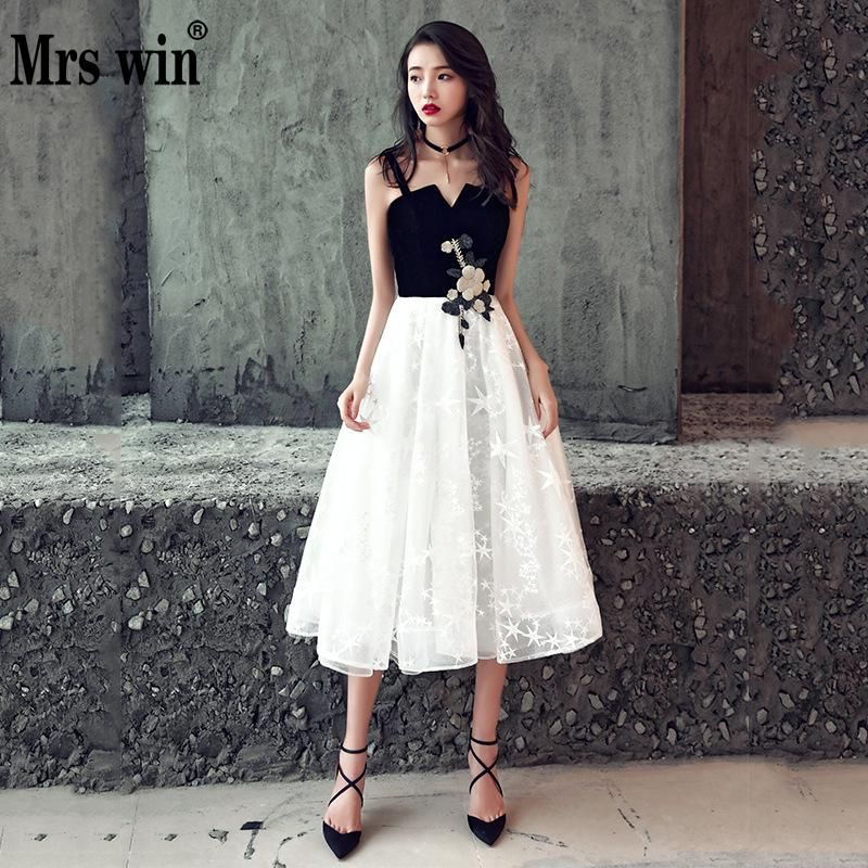 Mrs Win Elegant Ladies   Evening     Dress   2019New Sexy Short Female Banquet Party   Dress   Meeting Host   Dress   Vestido De Noche Vestido L