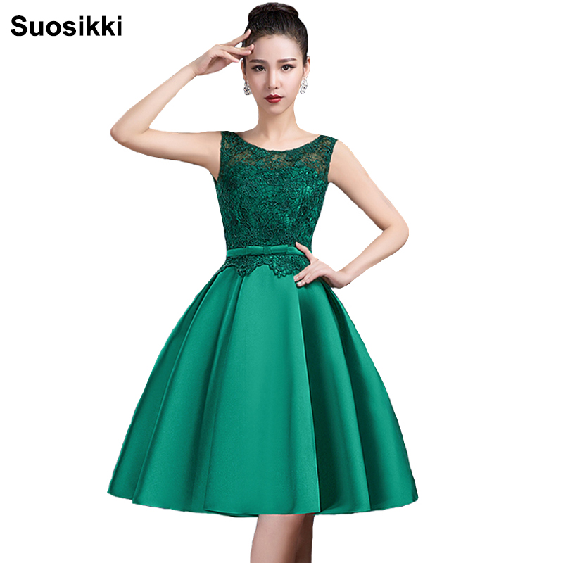 Suosikki O-neck Shoulder Straps Lace Decoration V-Back Elegant Green Short   Prom     Dresses   2019