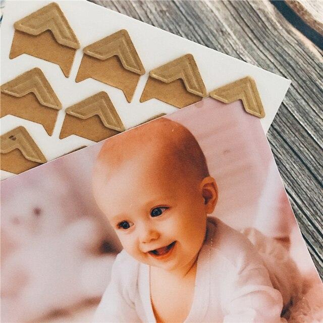 120 יח'\חבילה (5 גיליונות) בציר קראפט נייר פינת מדבקות רעיונות אלבומים תמונות מסגרת DIY קישוט, זהב כסף מדבקות