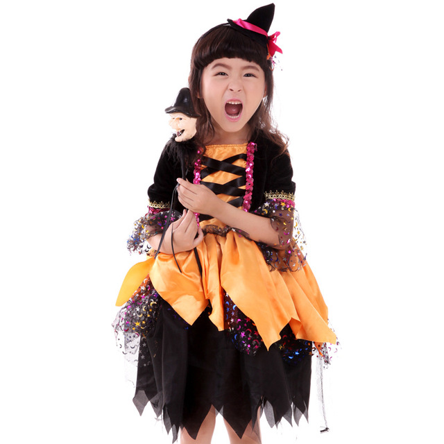 Halloween Children's Witch Skirt Suit Cosplay Witch Costumes Kids ...