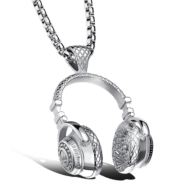 Hip Hop Jewelry Men Necklace Stainless Steel Music Headphone Pendant Necklaces 2018 Fashion Cool Gifts Mens Jewellery Collier 2