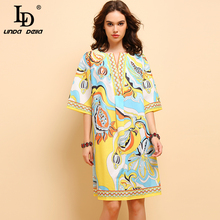 LD LINDA DELLA Fashion Summer Midi Dress 5XL Plus Size Womens Half Sleeve Floral Printed Elegant Casual Vacation Loose Dresses
