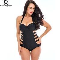 Black One Piece Swimsuit Women Plus Size Swimwear Sexy Strapless Bathing Suit Vintage Swim Suit Bodysuit