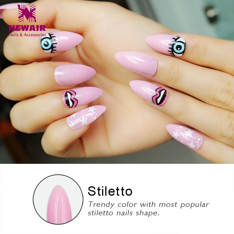 Aliexpress.com : Buy Long Pink Stiletto False Nails Full ...