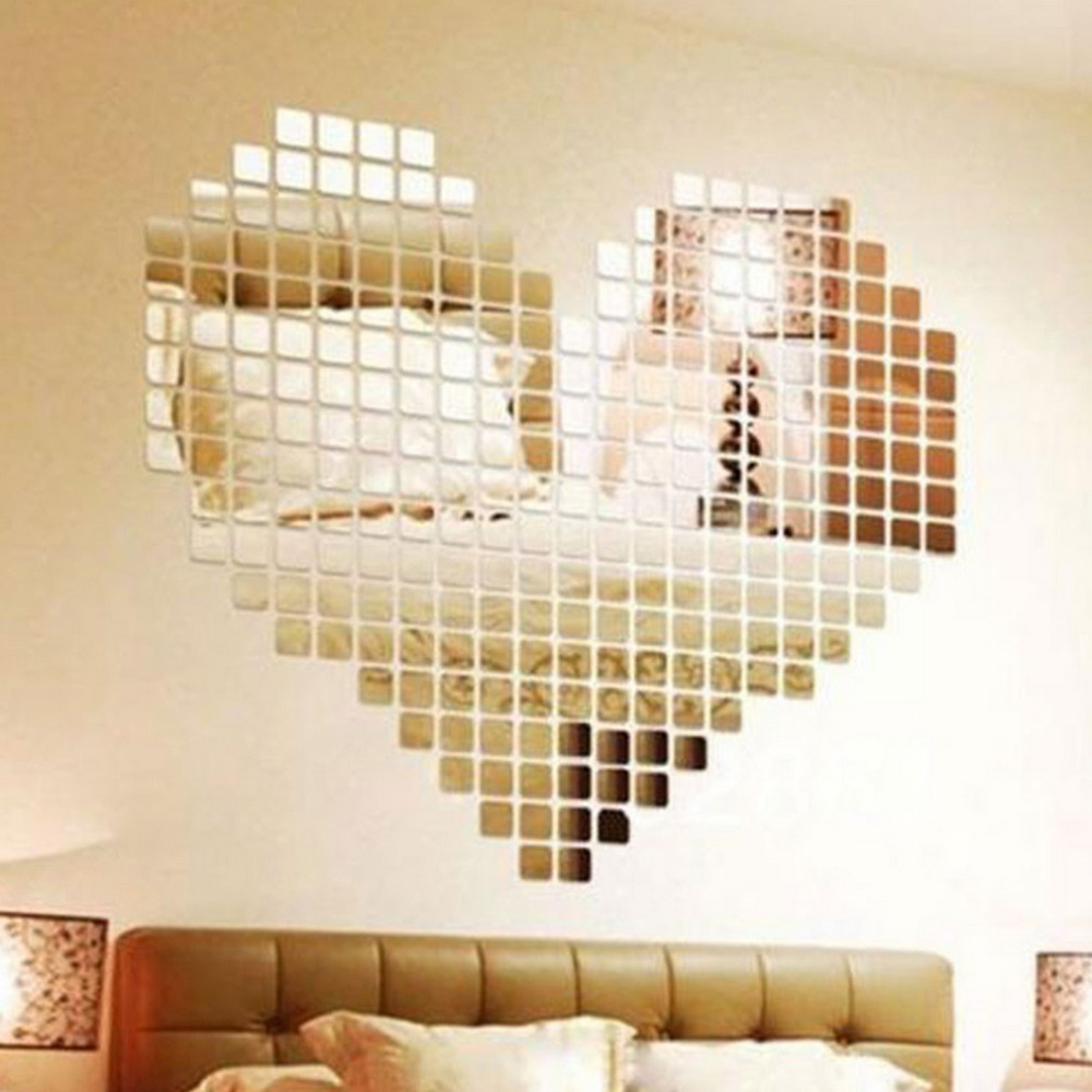 100 Pieces Mirror Tile Popular DIY Wall Sticker 3D Decal Mosaic House Home Room Decoration Stick For Modern Rooms Free Shipping colorful diy 3d butterfly wall sticker mirror art decal pvc paper for home showcase 12pcs