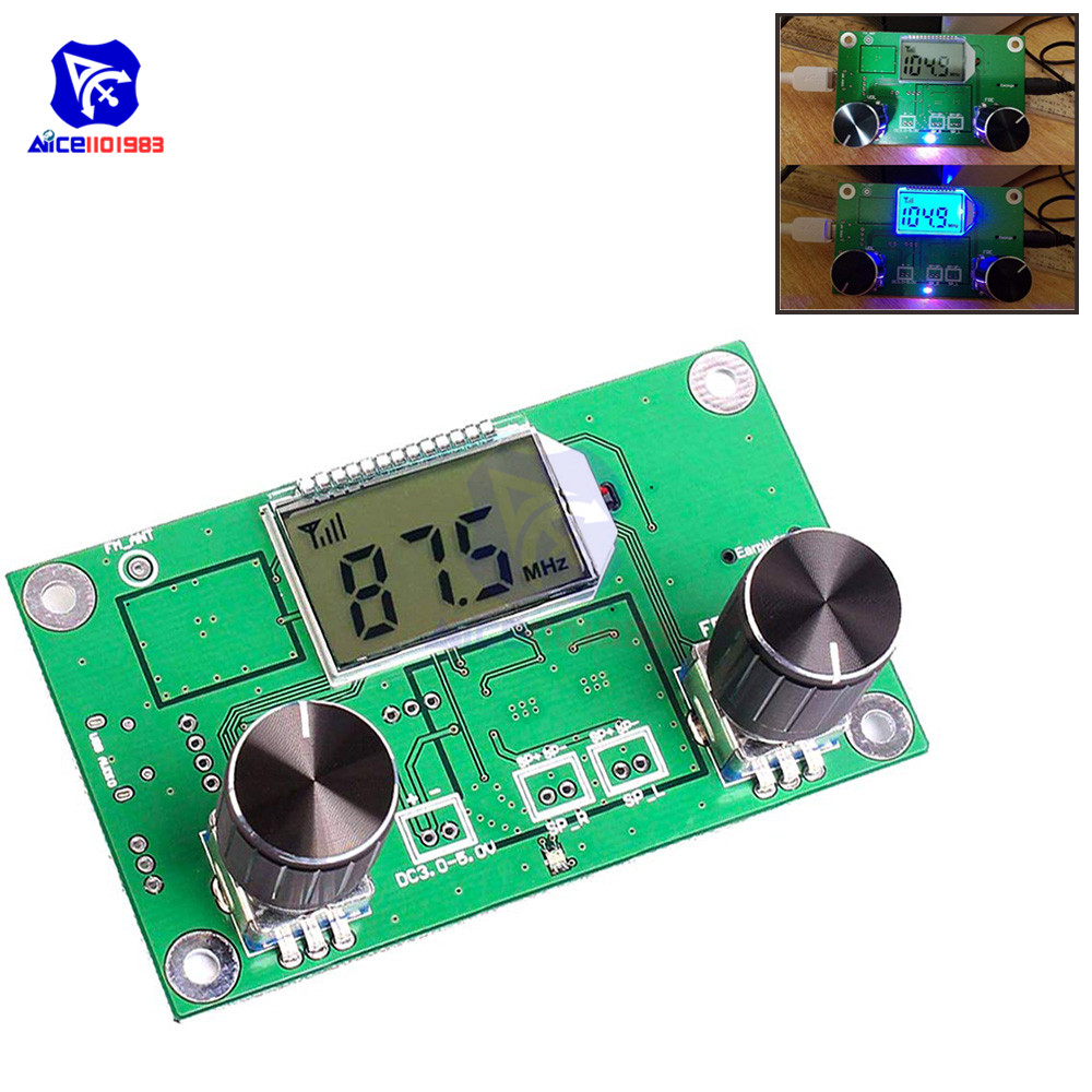 Digital Stereo FM Radio Wireless Receiver Module LCD Display DSP PLL 87.0MHz-108.0MHz With Rotary Potentiometer With Knob