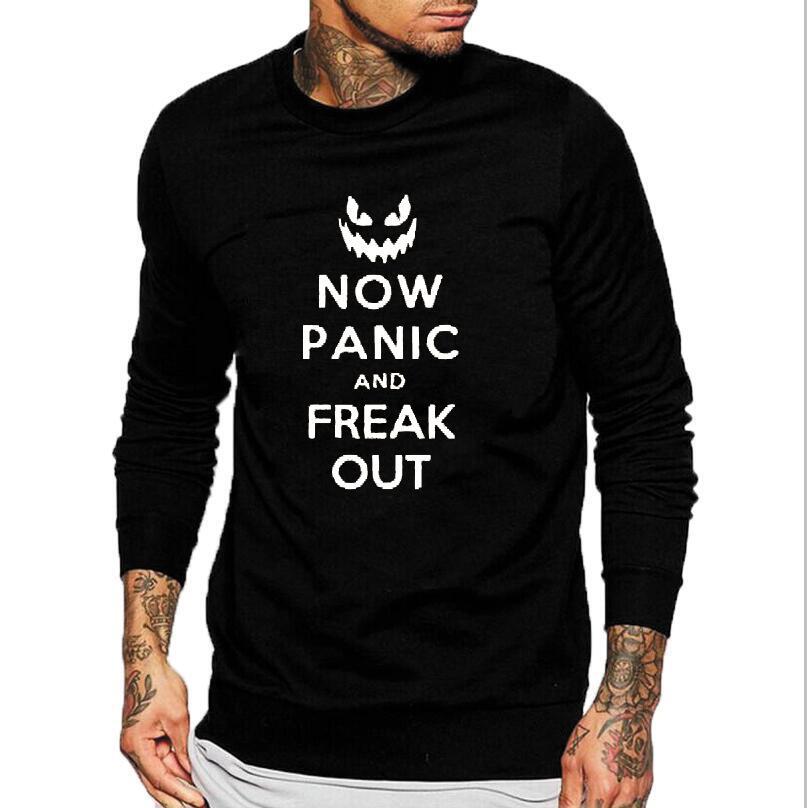 halloween sweatshirt now panic and preak out party funny men tops pullover hip hop streetwear punk rock crewneck hoodies