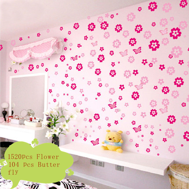 1520 PCS Flowers And 104 PCS Butterfly Wall Decals Wall Sticker Girls Kids  Nursery Bedroom Decor