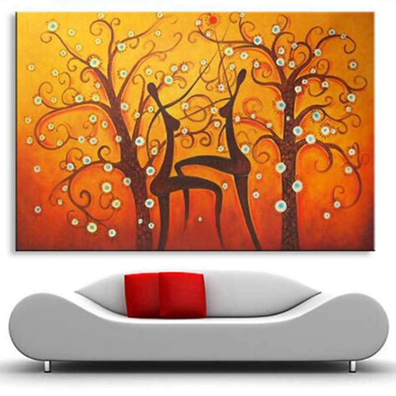 Large Handpainted Abstract Orange Oil Paintings on Canvas Handmade Flower Trees Painting Modern Home Decor Wall Art Pictures