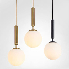Nordic Milky Glass Transparent Golf Ball Pendant Lamps Electroplated Copper Led Black Iron Lights Luminaire