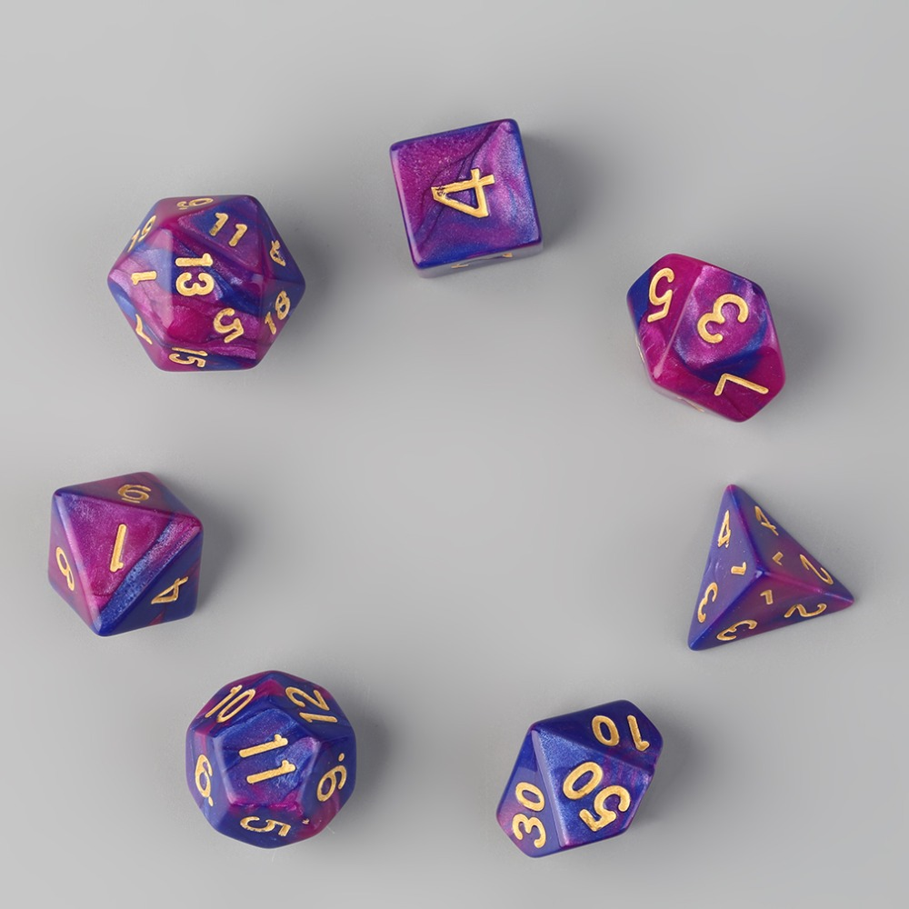 New 7pcs Dual-Color Dices D4 D6 D8 D10 D12 D20 Multi Sided Game Role Playing Dual Color Dices Hot Sale