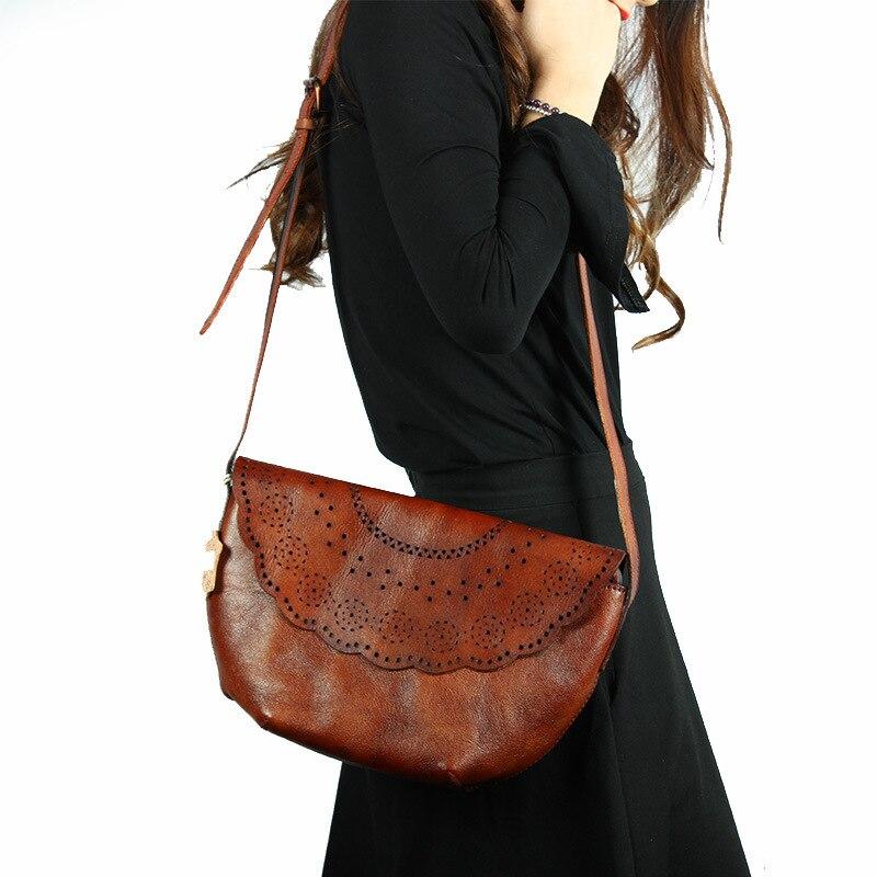 Nesitu Vintage marrón/Verde cuero genuino mujeres pequeñas bolsos de mensajero de cuero de vaca mujer bolsos de hombro # M088-in Bolsos bandolera from Maletas y bolsas    3