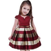 все цены на Europe and America Kids Toddler Vintage Striped Princess Dresses For Children Girls Birthday Party dresses Girls V neck Dress