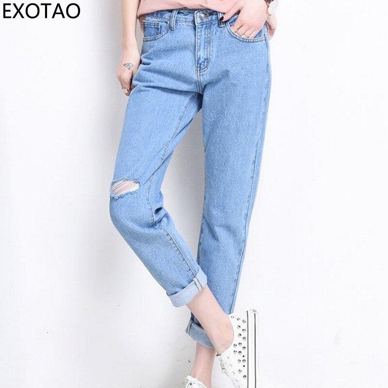 EXOTAO Single Knee Hole Denim Pants for Women Harajuku High Waist Jeans Female 2017 Winter Pantalon Femme All Match Jeans