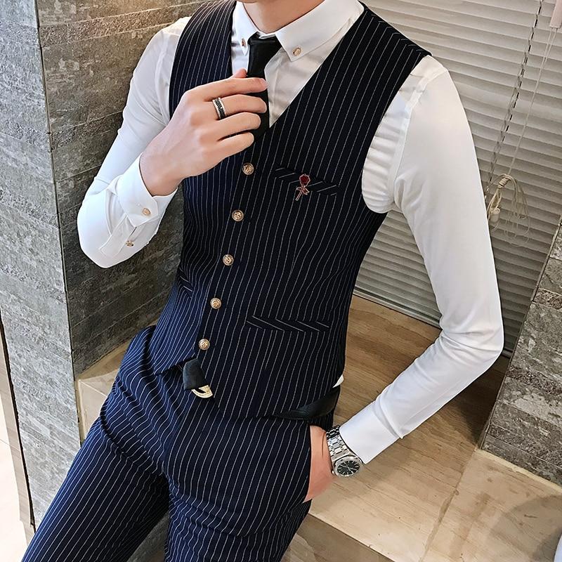 2019 Classic Black Stripes Men Vests, Business Banquet Wedding Men Suit Vest , Black, Blue ,Fashion Casual Waistcoat Man