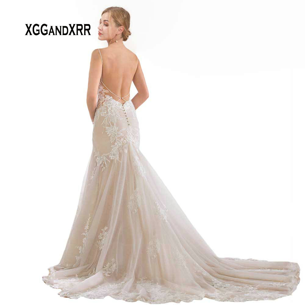 Lace Mermaid Wedding Dress 2019 Sexy V Neck Spaghetti Backless Lace Applique Chapel Train White Long Bride Dress Plus Size