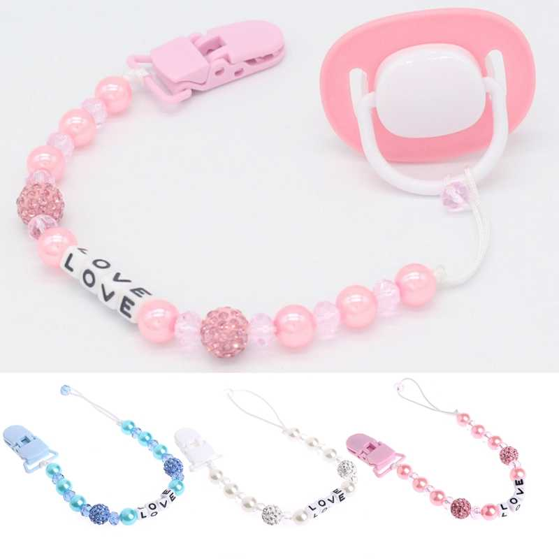 Baby Bling Crystal Fopspeen Clips Fopspeen Chain Dummy Fopspeen Tepel Leash Strap