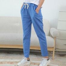 XXL Más Tamaño Harén Pantalones casuales de algodón de lino pantalones sueltos para las mujeres de gran tamaño negro azul blanco altura del tobillo pantalones mujer