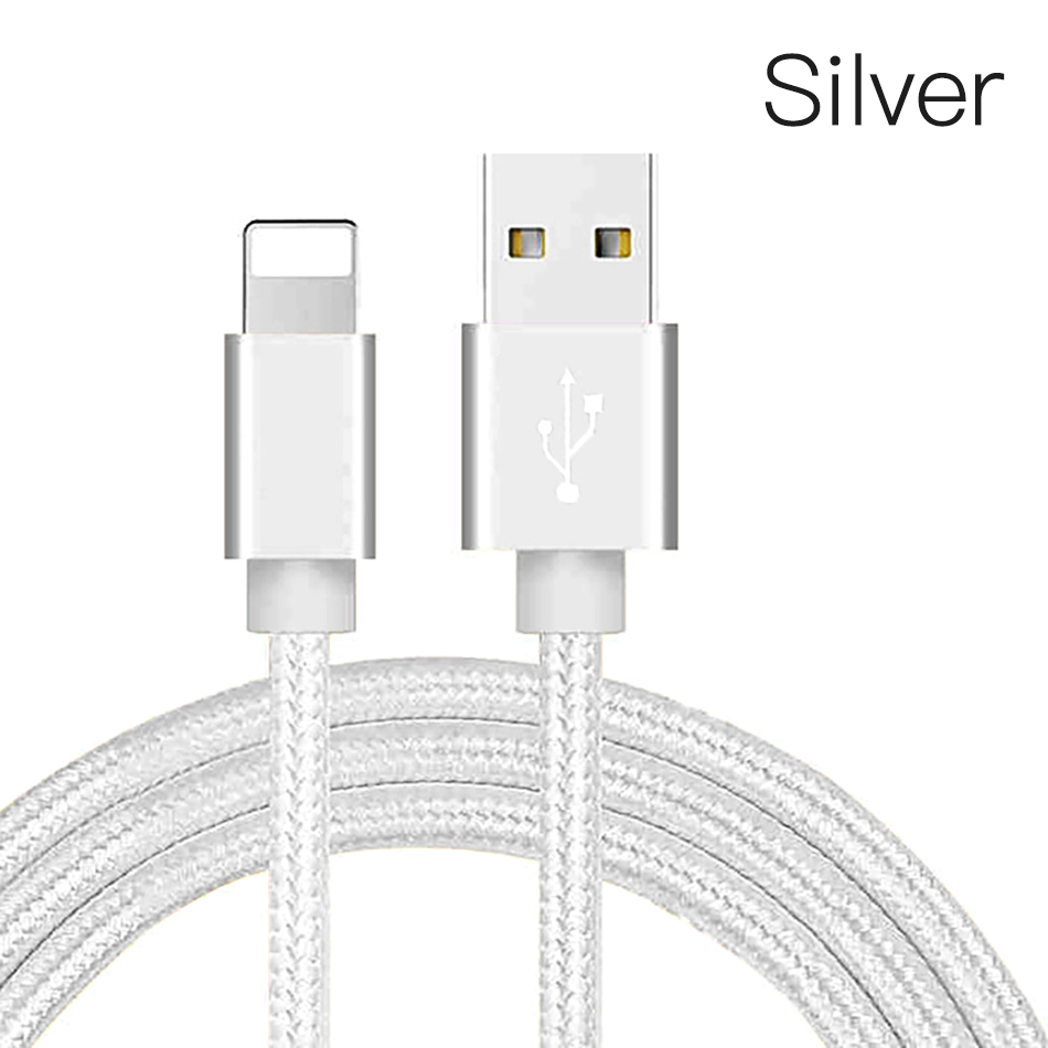 !ACCEZZ Nylon USB Charger Cable 2A For iPhone XR XS Max 7 8 6 6S 5S Ipad Mini Lighting Mobile Phone Data Fast Charge Cables Cord (14)